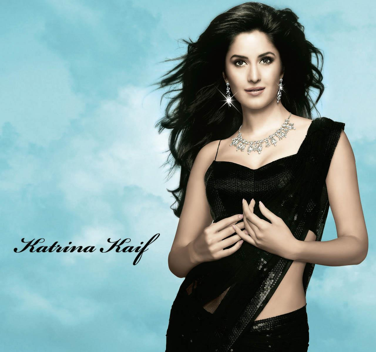 Wallpapers For Girls Spark Katrina Kaif In Black Saree Looks Awesome At A Jewellery