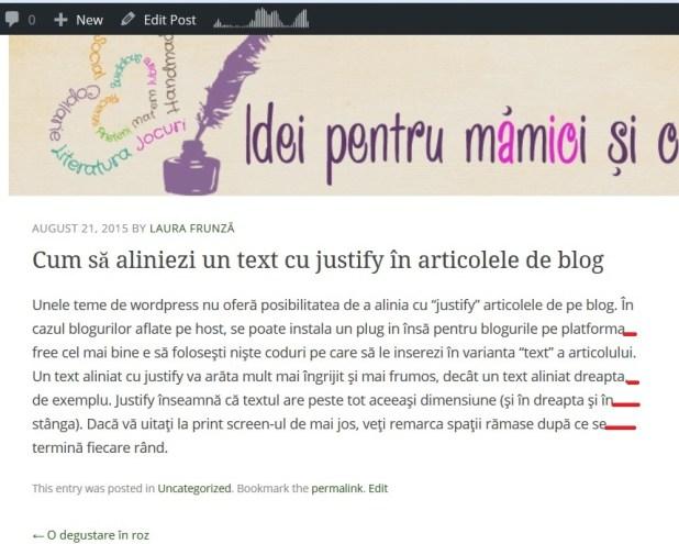 Cum să aliniezi un text cu justify în articolele de blog