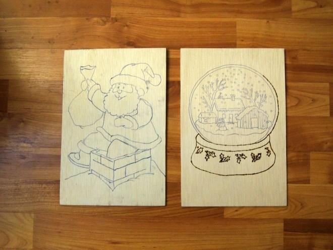 În stânga model desenat, în dreapta model pe care s-a început pirogravura