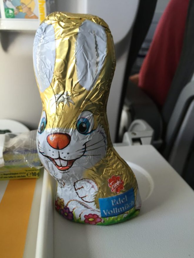 The chocolate Easter bunny I received on my Lufthansa to Frankfurt.