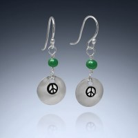 Peace symbol earrings with onyx