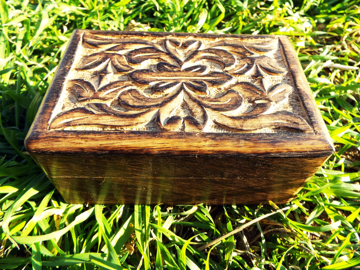Box Wooden Flower Jewelry Carved Handmade Home Decor