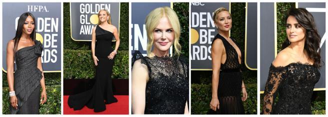 Naomi Campbell, Reese Witherspoon, Nicole Kidman, Kate Hudson y Penelope Cruz a su llegada a la gala de los Globos de Oro