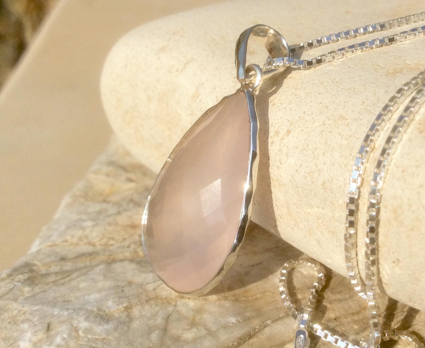 Rose Quartz Silver Teardrop Pendant Necklace