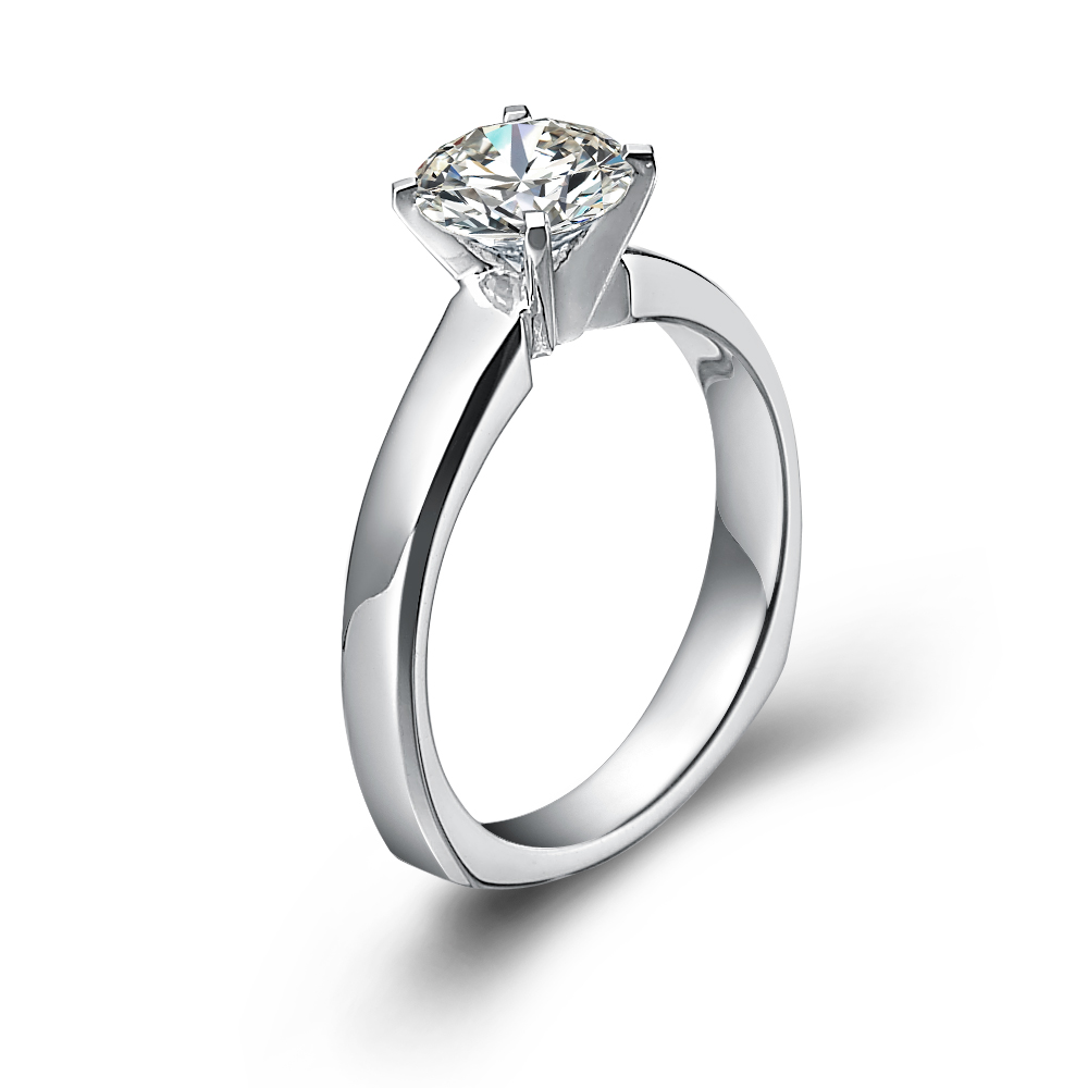 classical engagement ring with round diamond in 18k white gold with a 0 75 carat diamond wedding ring Classical engagement ring with round diamond in 18K White Gold with a 0 75 Carat Diamond