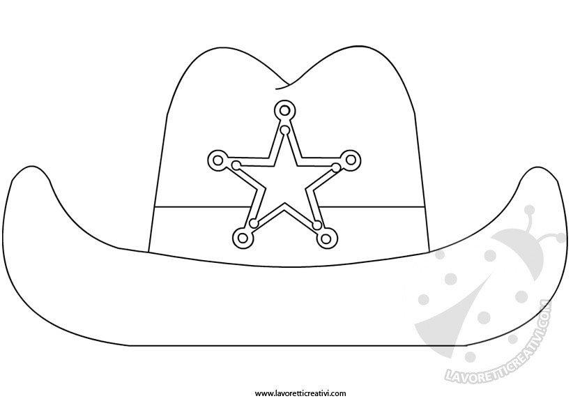 Cappello da sceriffo sagoma da ritagliare for Cappello disegno da colorare
