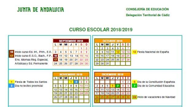 Descubre los festivos marcados en el calendario escolar 2018/2019