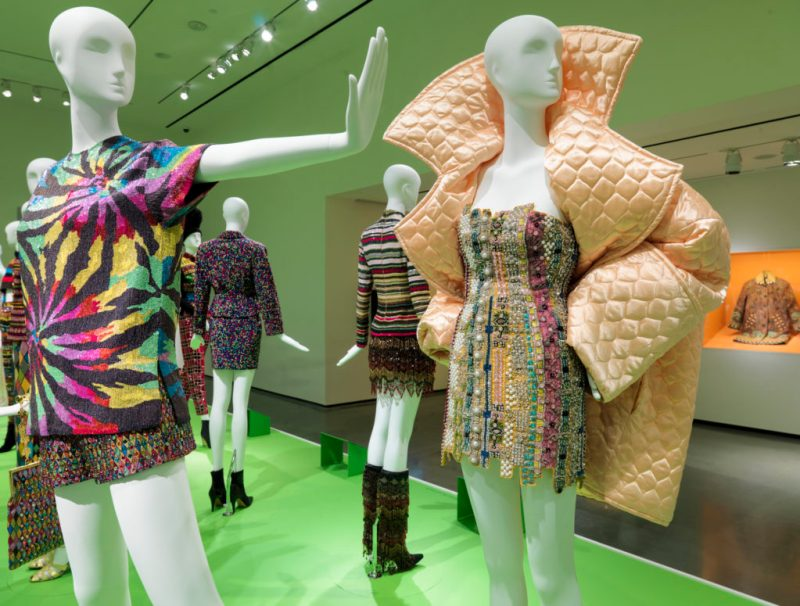 """Installation view of """"All of Everything: Todd Oldham Fashion."""" Exhibition on view at the RISD Museum April 8–September 11, 2016. RISD Museum, Providence, RI."""