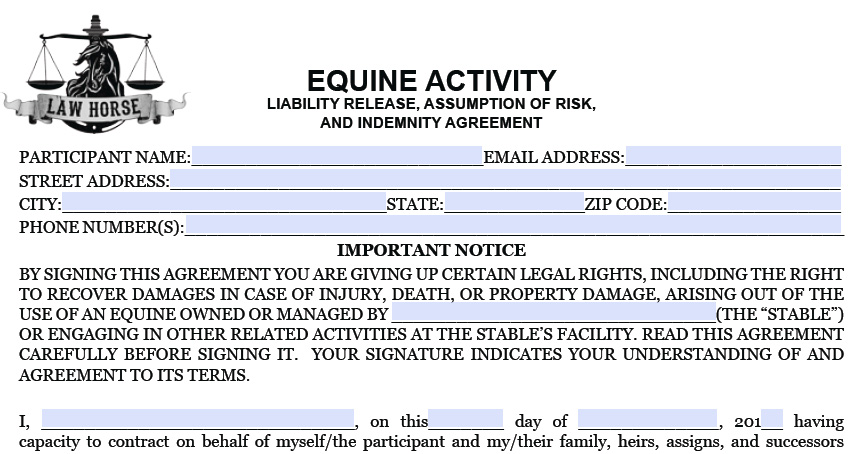 Equine Legal Documents to Download - legal liability waiver form
