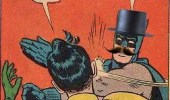 Batman wearing a top hat and mustache. Batman!! Quiet you fool! You'll ruin my disguise.