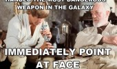 Luke Skywalker with a lightsaber meme. Handed the most dangerous weapon in the galaxy. Immediately point at face.