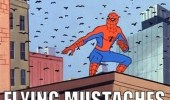 A 60's Spider-Man meme. Flying mustaches.