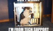 A meme of a cat inside a computer tower. Don't worry I'm from tech support.