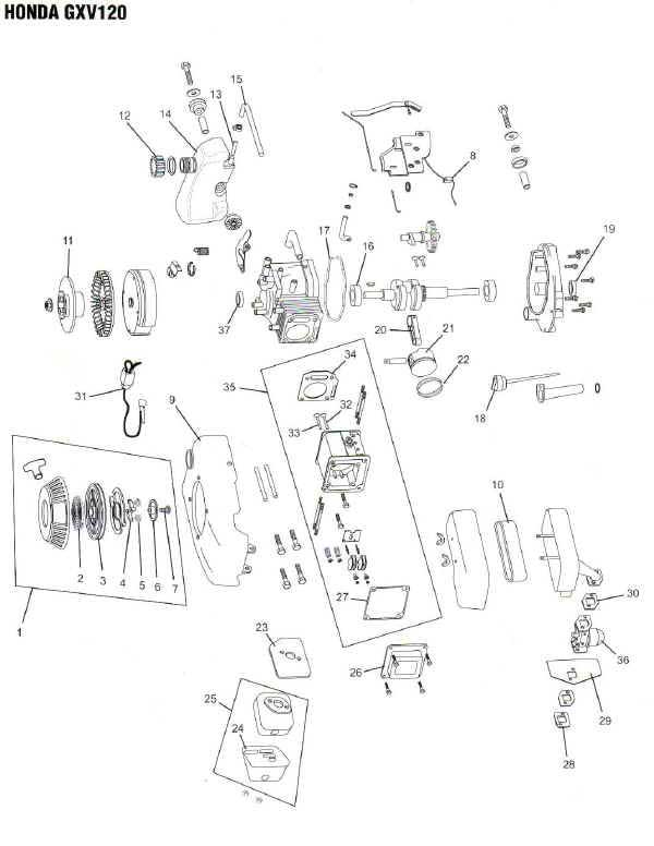 Honda GXV120 Engine Parts Diagram Lawnmower Pros