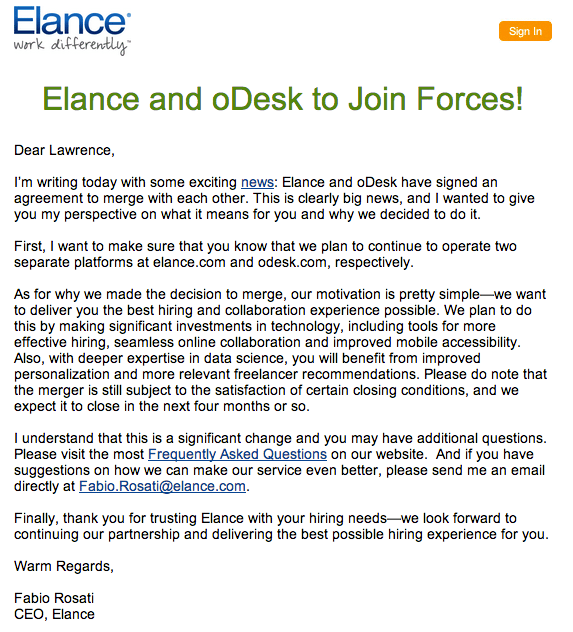 Odesk and Elance Merge