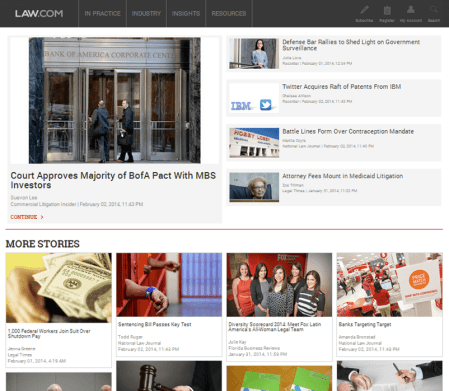 Law.com Screenshot Homepage