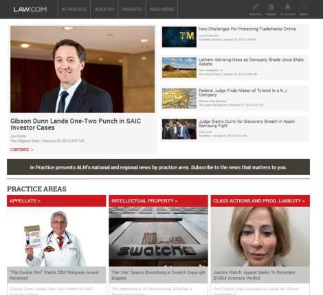 Law.com Screenshot Practice Areas