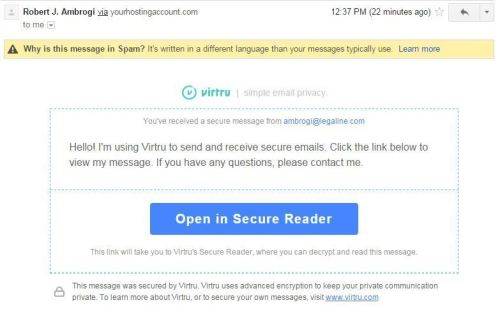 My first message sent to Gmail was blocked as spam.