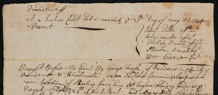 A portion of a 1734 court record from Rhode Island's new digital archive.