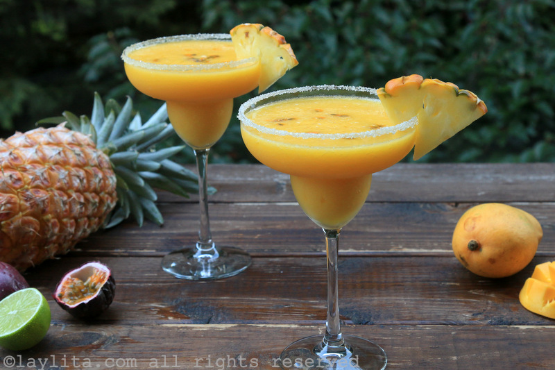 Tropical margaritas {with pineapple, passion fruit, and mango
