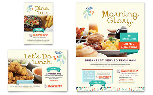 Family Restaurant Menu Template - Word  Publisher