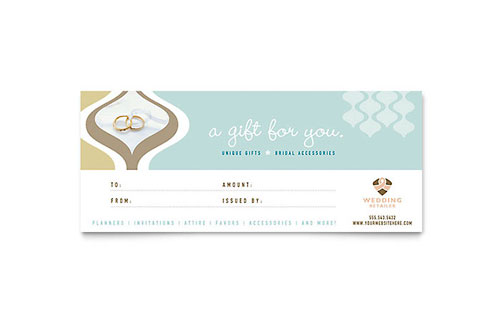 Wedding Store  Supplies Gift Certificate Template - Word  Publisher - microsoft templates certificates