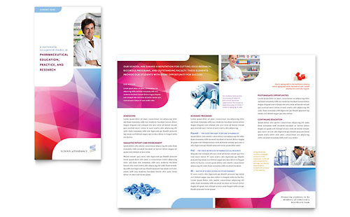 Pharmacy School Tri Fold Brochure Template - Word  Publisher - ms word pamphlet template