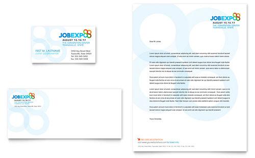 Job Expo  Career Fair Business Card  Letterhead Template - Word