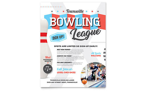 Bowling Brochure Template - Word  Publisher