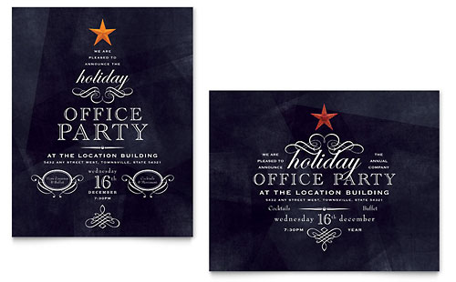Office Holiday Party Invitation Template - Word \ Publisher - party invitation templates word