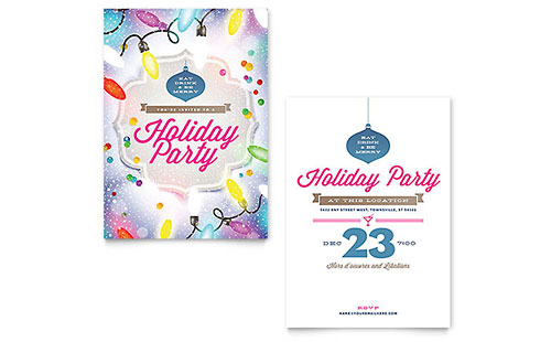 Holiday Party Flyer Template - Word  Publisher