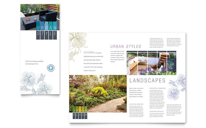 Urban Landscaping Tri Fold Brochure Template - Word \ Publisher - architecture brochure template