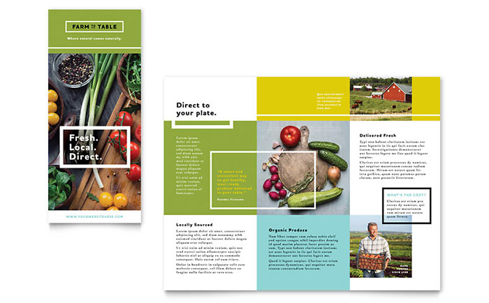 Organic Food Brochure Template - Word  Publisher - pamphlet layout template