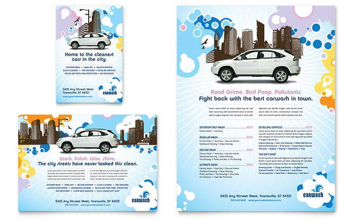 Auto Detailing Flyer \ Ad Template - Word \ Publisher - car wash flyer template