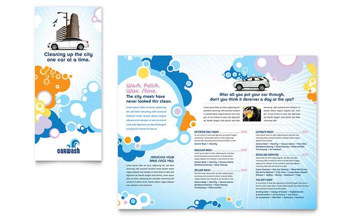 Car Wash Tri Fold Brochure Template - Word \ Publisher - microsoft word tri fold brochure