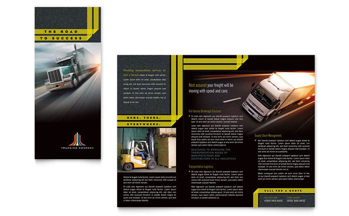 Trucking  Transport Tri Fold Brochure Template - Word  Publisher