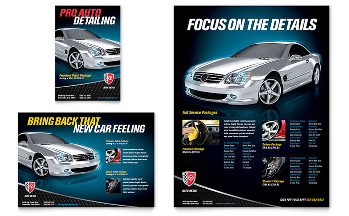 Auto Detailing Flyer  Ad Template - Word  Publisher
