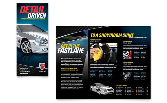 Auto Detailing Tri Fold Brochure Template - Word  Publisher - microsoft tri fold brochure template free