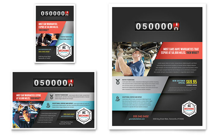 Auto Mechanic Flyer  Ad Template - Word  Publisher