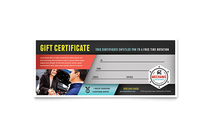 Auto Mechanic Gift Certificate Template - Word  Publisher