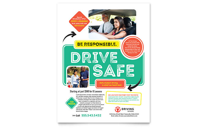 Driving School Flyer Template - Word  Publisher