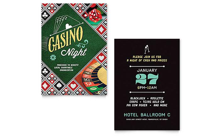 Casino Night Invitation Template - Word  Publisher