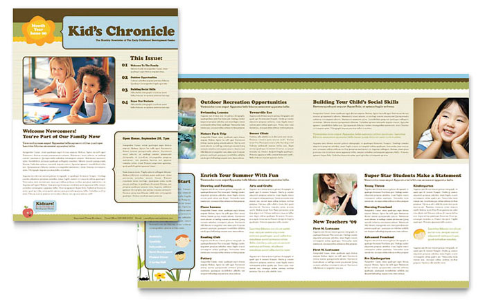 Child Development School Newsletter Template - Word  Publisher