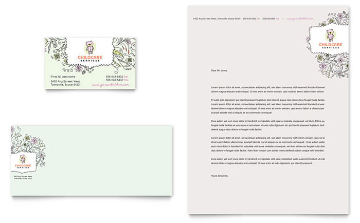 Babysitting  Daycare Business Card  Letterhead Template - Word - baby sitting cards