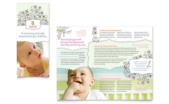 Babysitting  Daycare Tri Fold Brochure Template - Word  Publisher