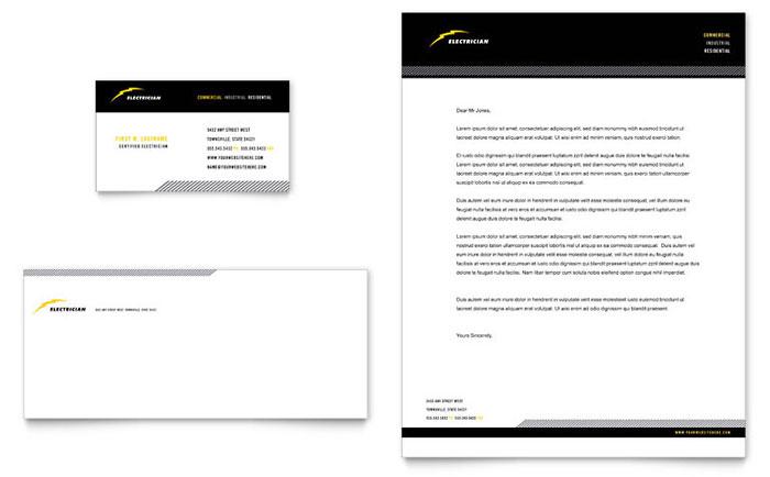 Electrician Business Card  Letterhead Template - Word  Publisher - business letterhead