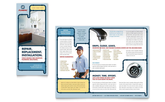 Plumbing Services Brochure Template - Word \ Publisher - services brochure