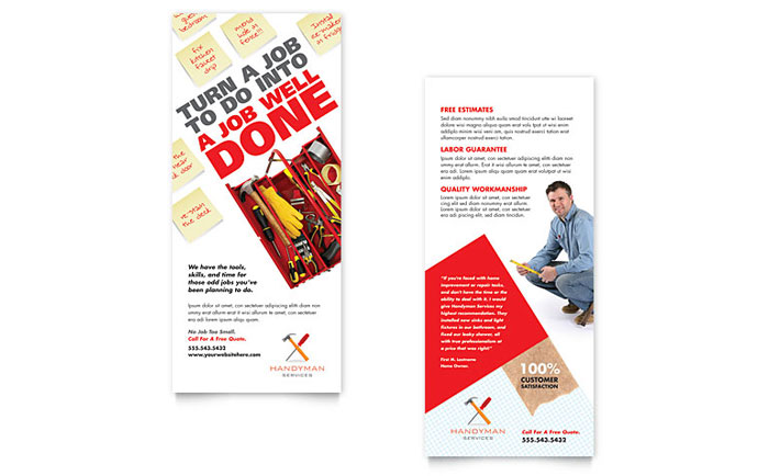 Handyman Services Rack Card Template - Word  Publisher