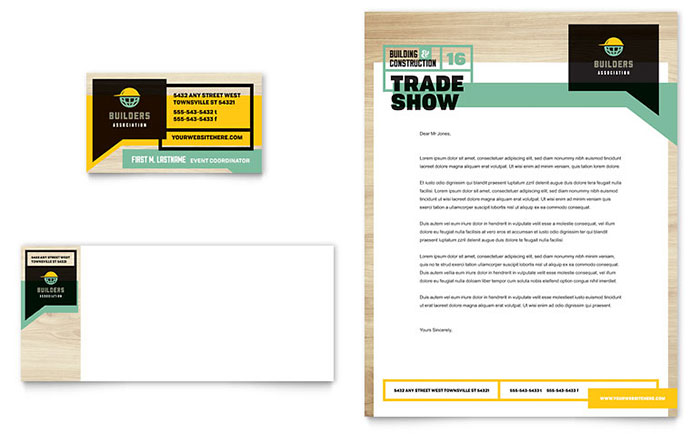 Builder\u0027s Trade Show Business Card  Letterhead Template - Word - free stationery templates for word