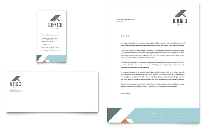 Roofing Company Business Card  Letterhead Template - Word  Publisher